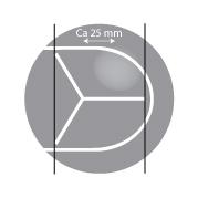 Helgrå minitennisboll 48 mm med snitt.